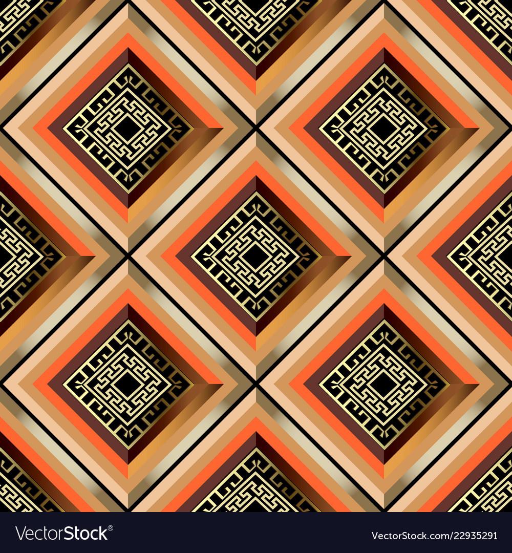 Colorful geometric striped 3d greek seamless