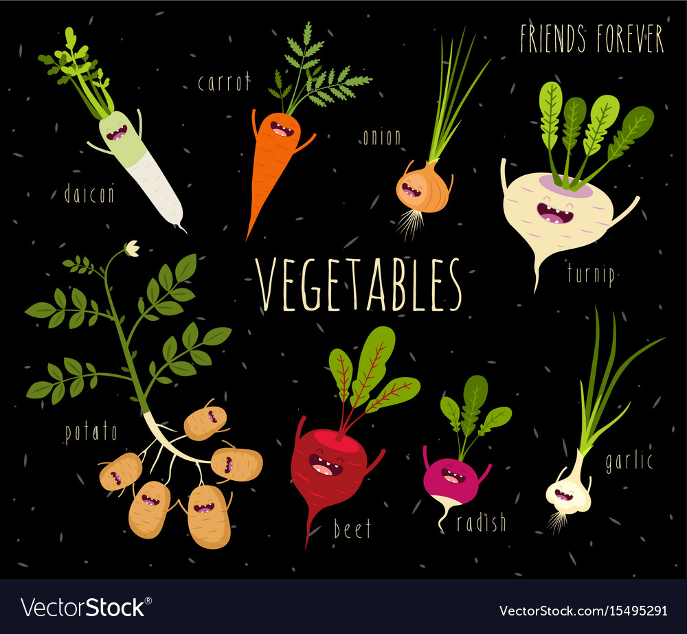 Excellent Funny Various Cartoon Vegetables Clip Art Vector Image On Vectorstock Interior Design Ideas Pimpapslepicentreinfo