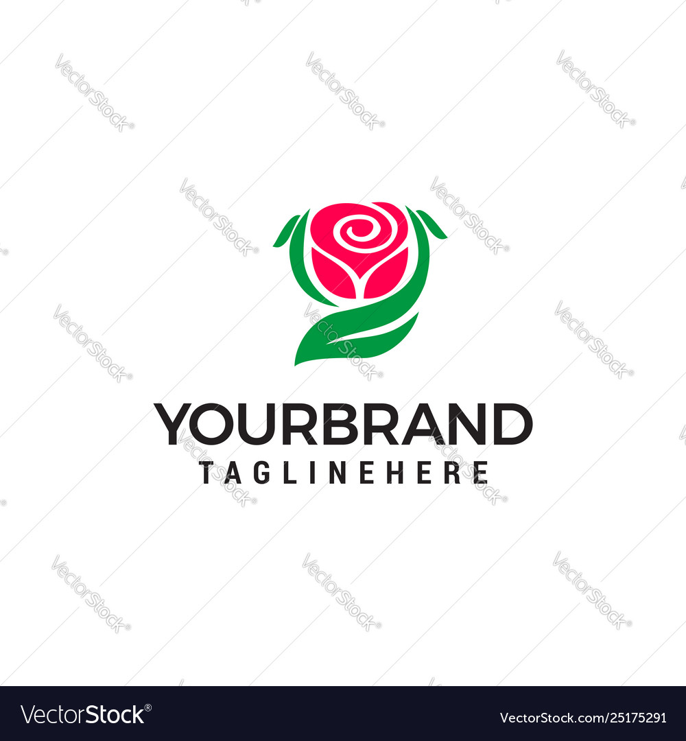 Rose logo design concept template
