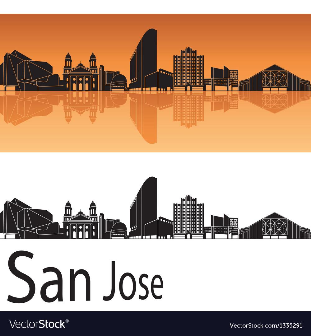 San Jose skyline in orange background