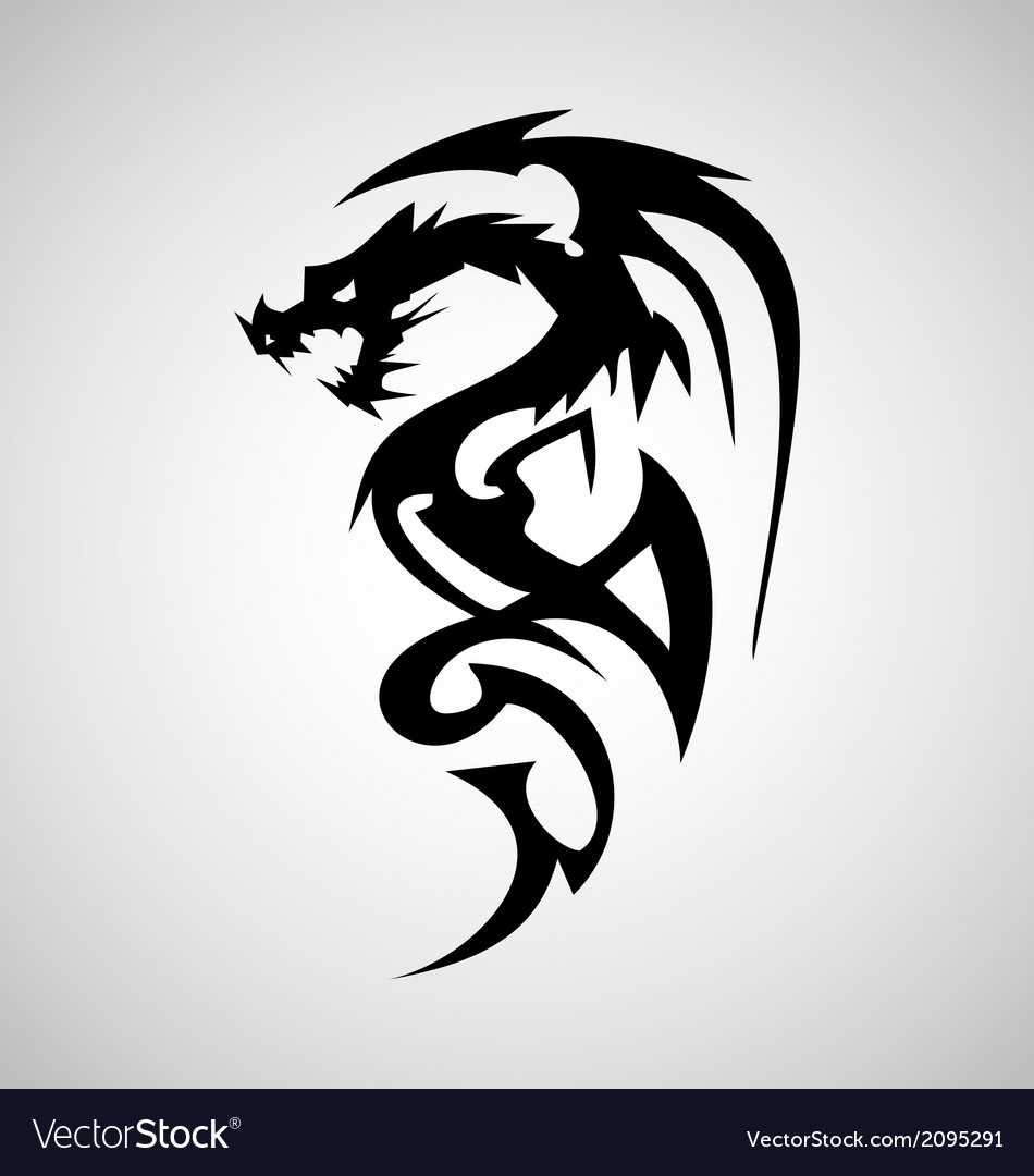1b95d30baebe5 Tribal Dragon Tattoo Design Royalty Free Vector Image