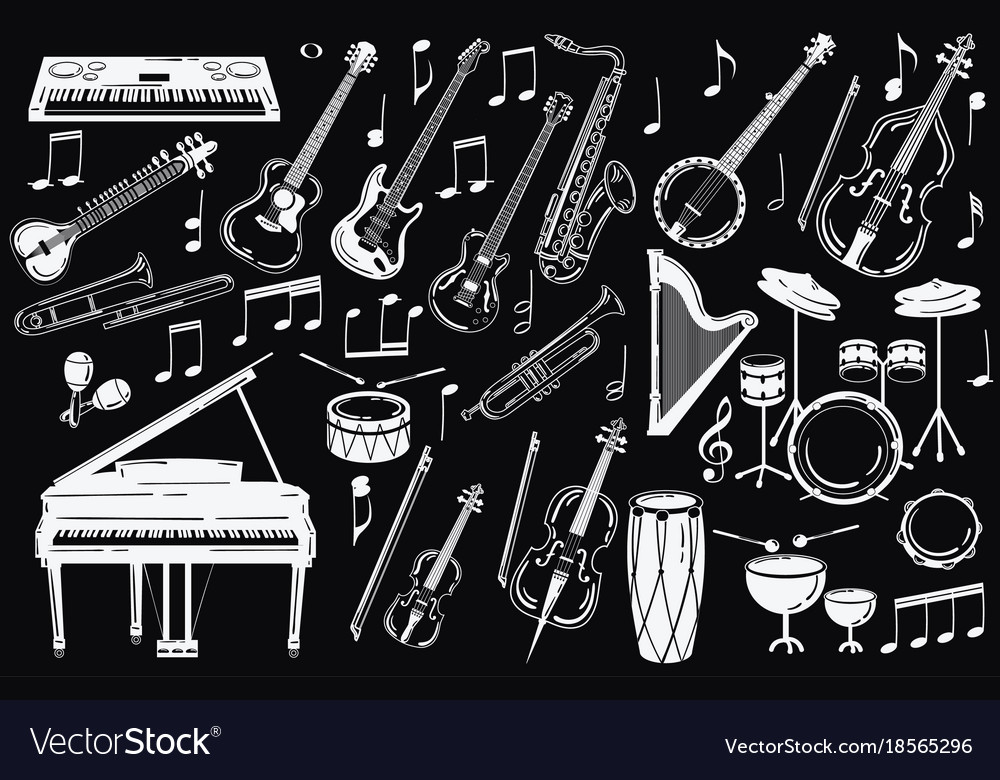 A set of musical instruments collection of