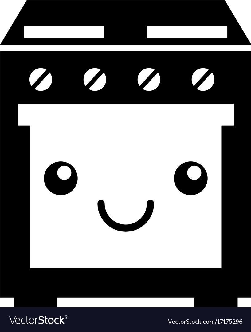 cartoon cute stove oven appliance kawaii vector image