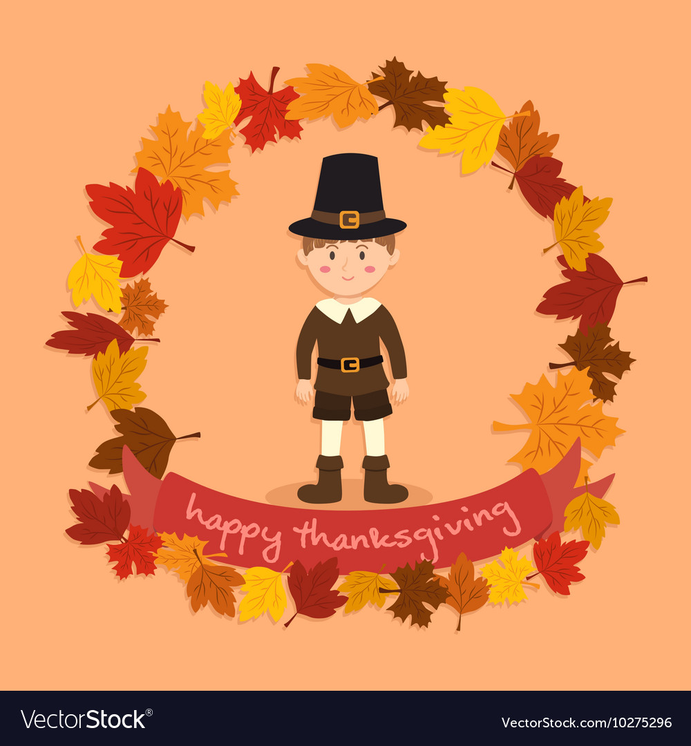 Circle Autumn Leaf Thanksgiving Boy