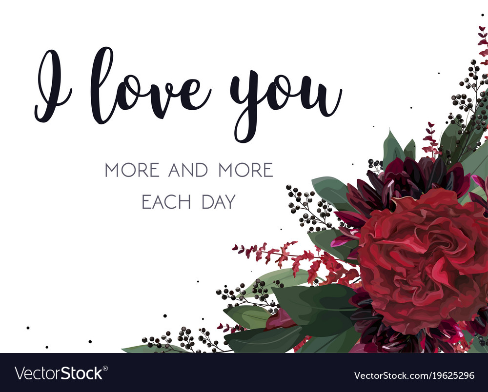 Floral Greeting Valentine Card Design With Flowers