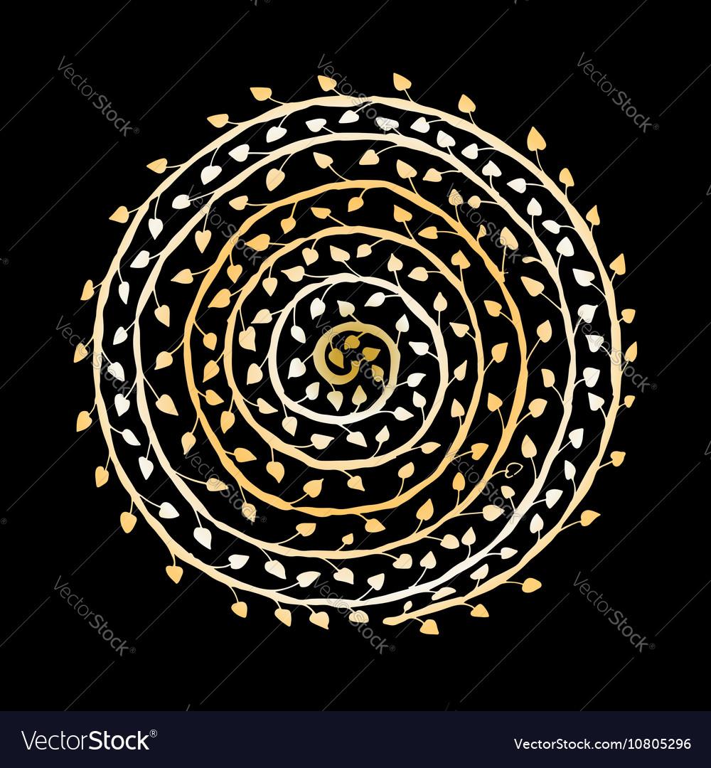 Floral spiral ornament golden sketch for your