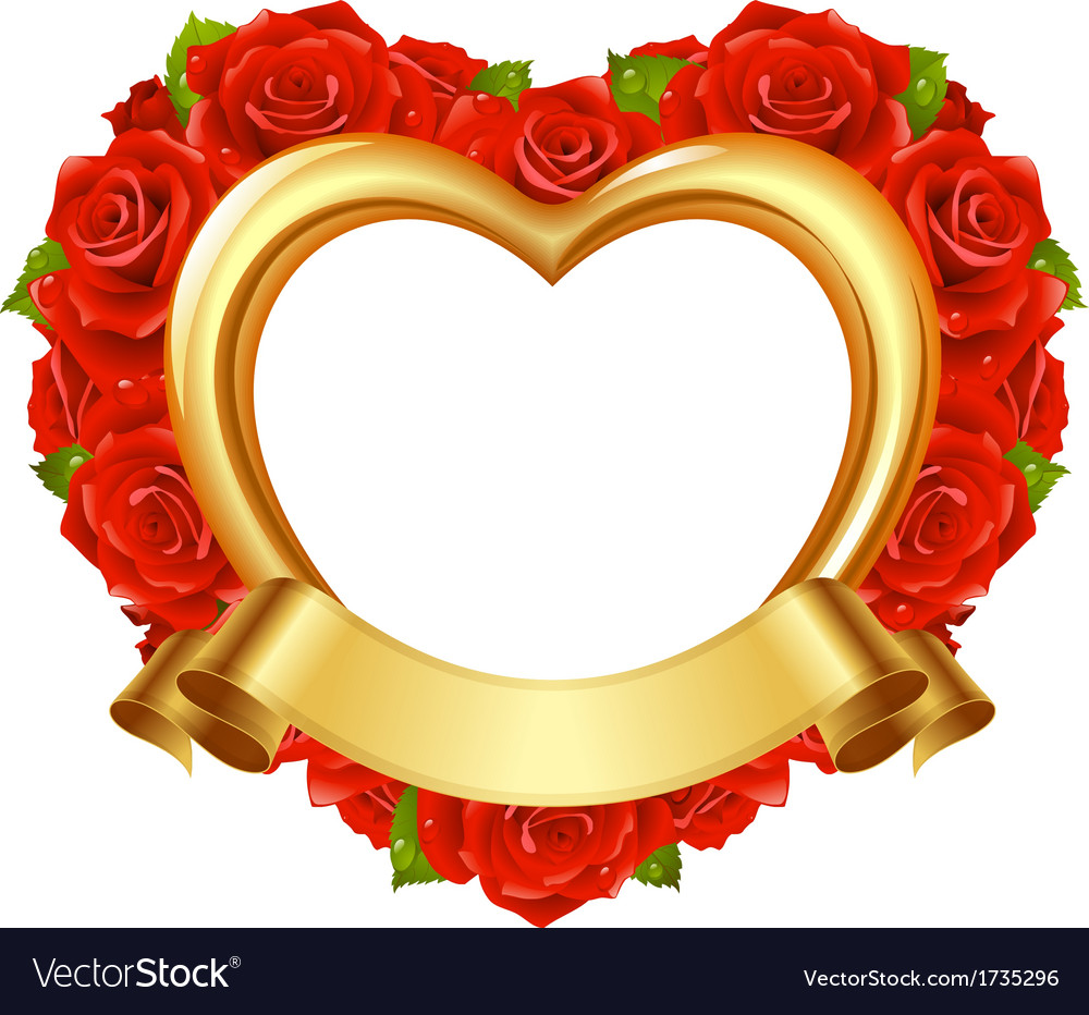 Frame in the shape of heart with red roses Vector Image