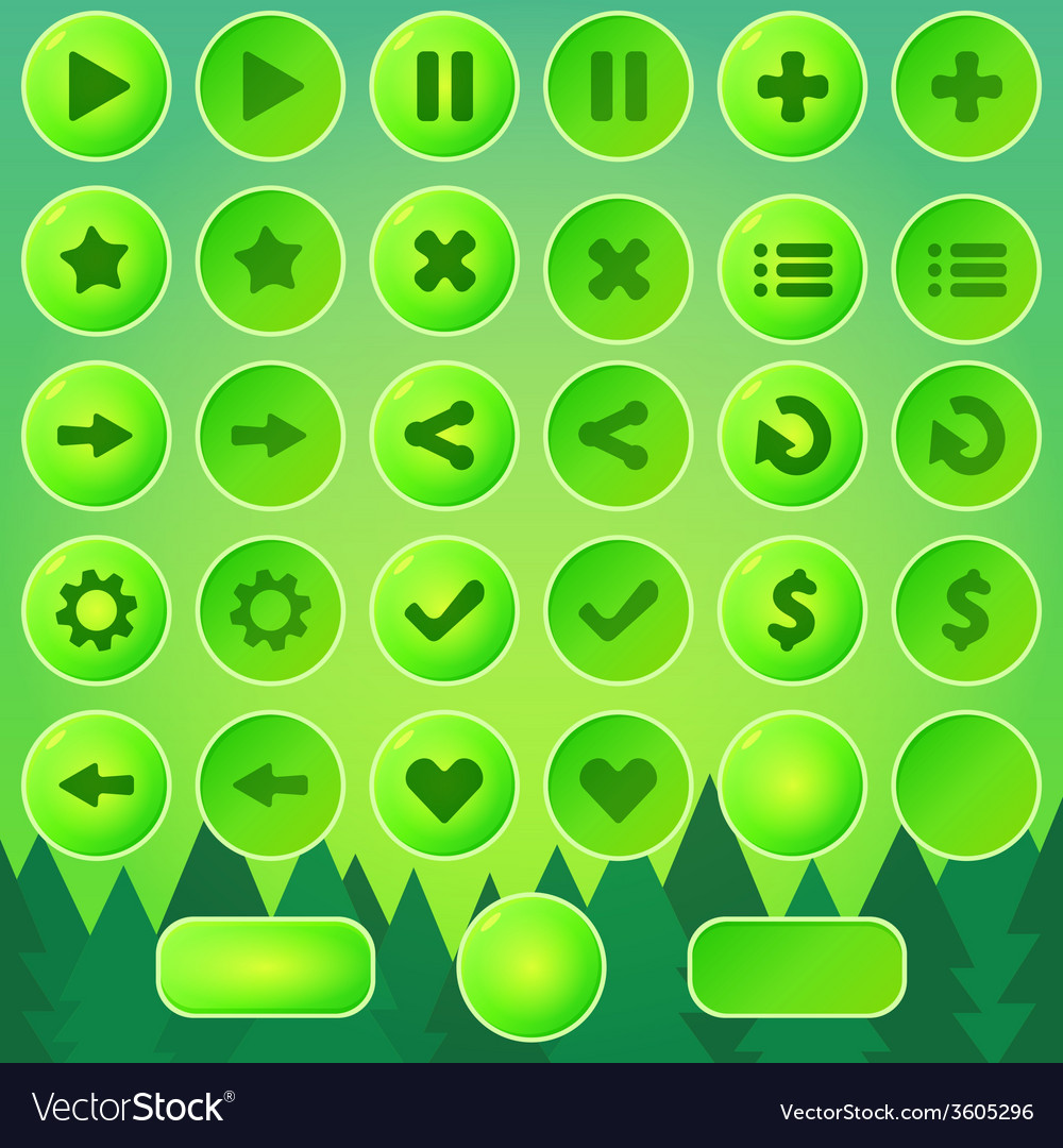 Game ui buttons - green elements