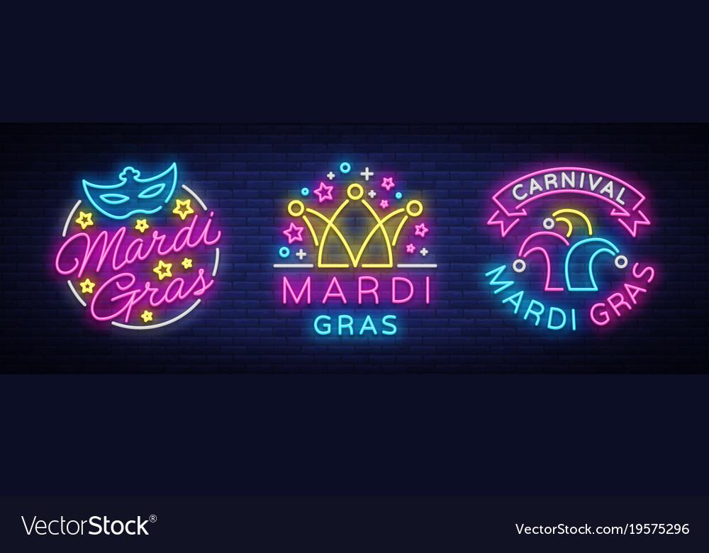Mardi gras set of design template for greeting