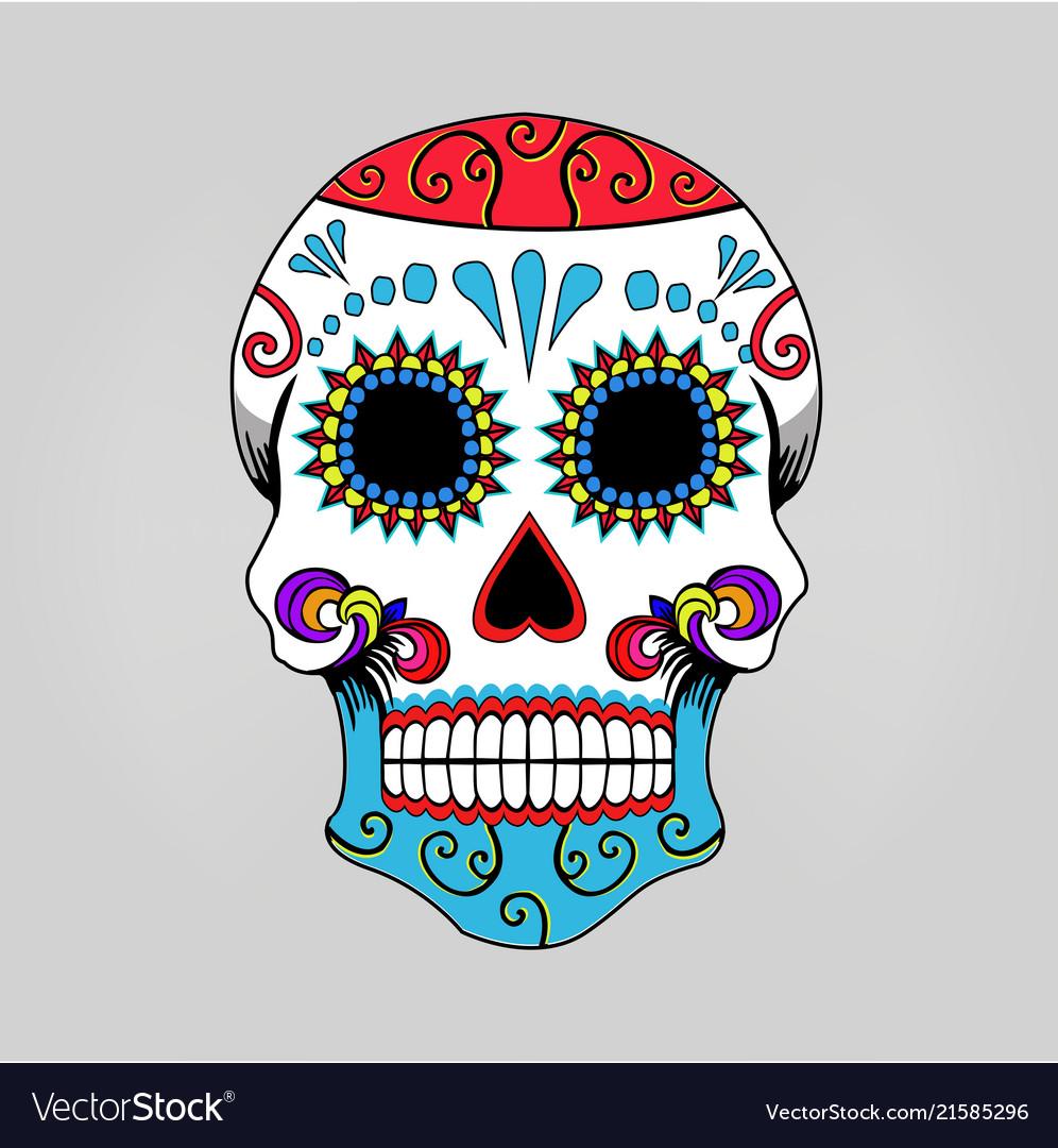 Mexican skull skeleton cartoon