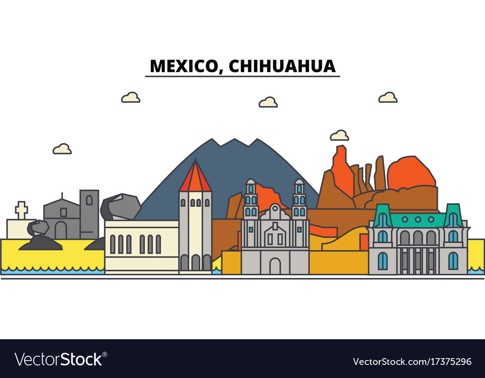 Mexico chihuahua city skyline architecture vector image
