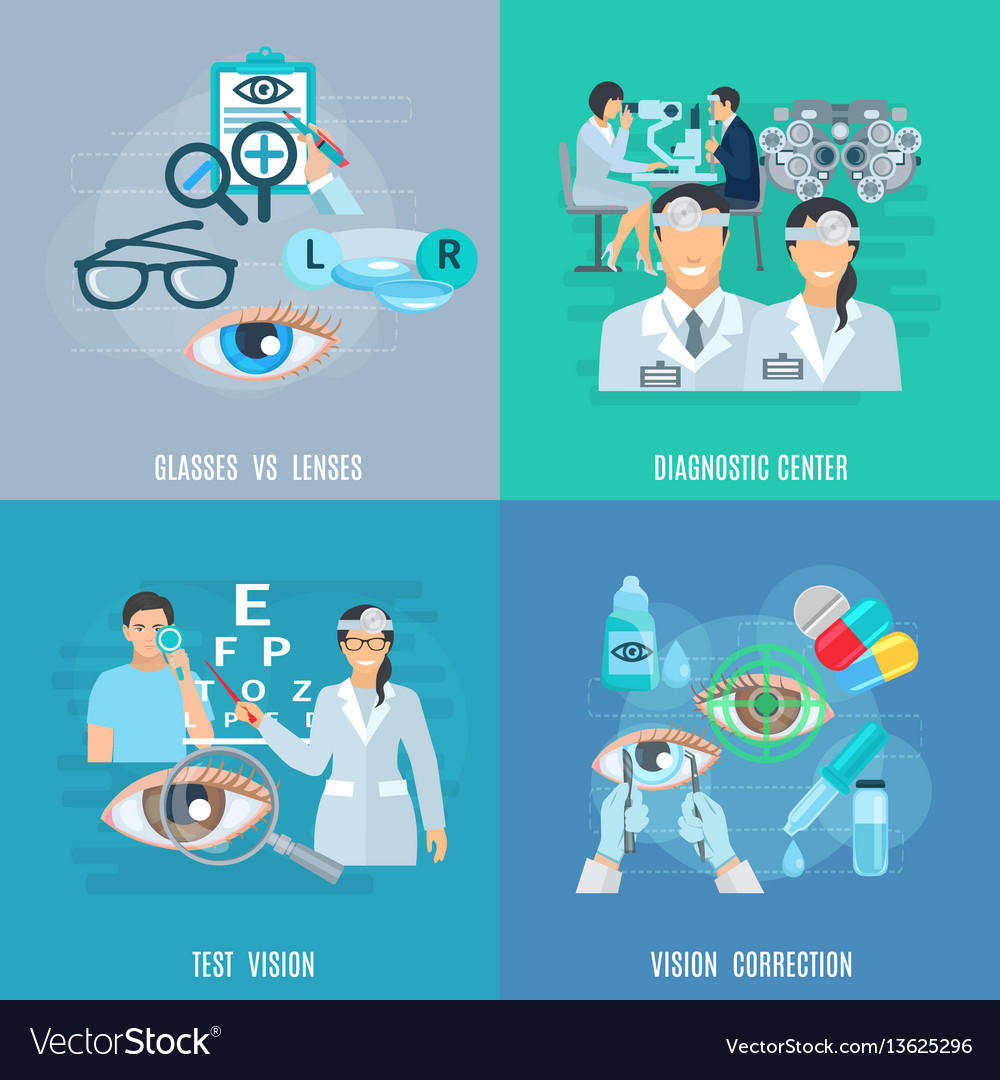 Oculist ophthalmologist 4 flat icons square
