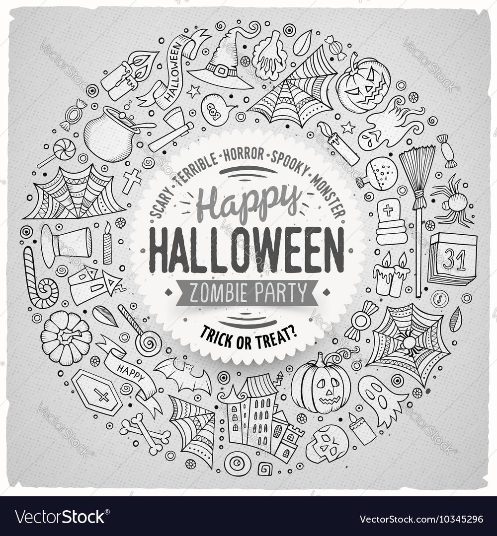 Round frame halloween cartoon objects symbols