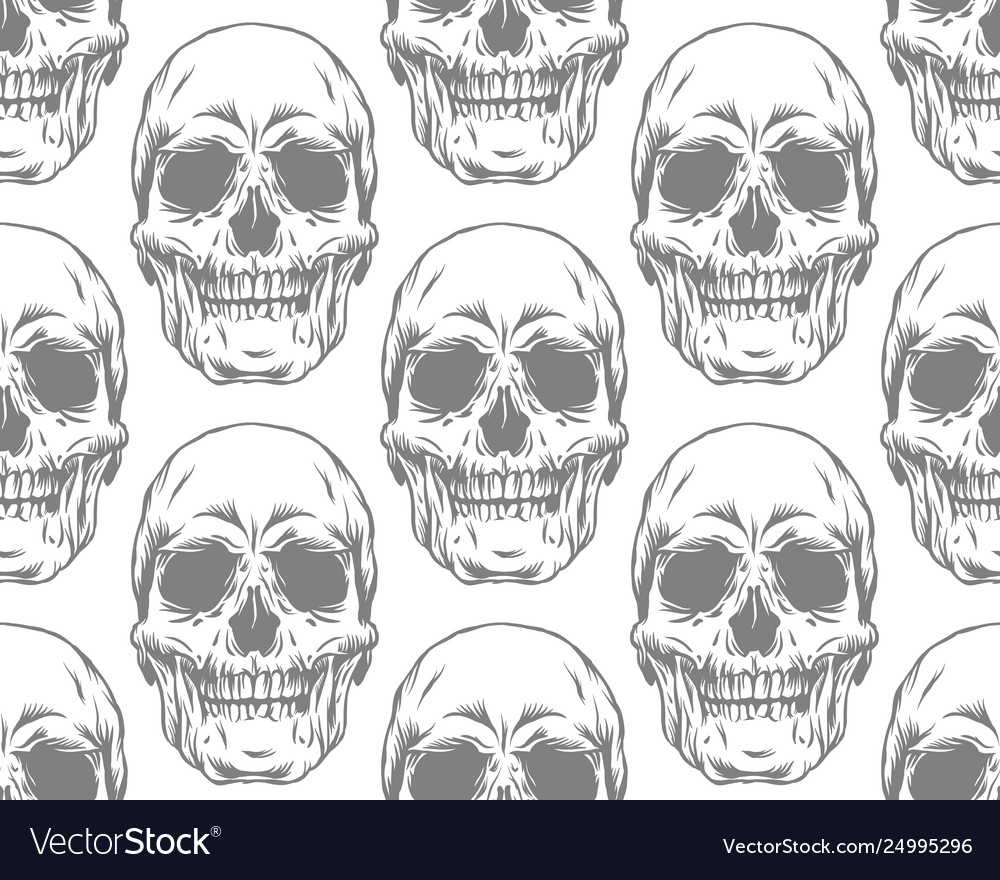 Seamless gray pattern with skulls on white