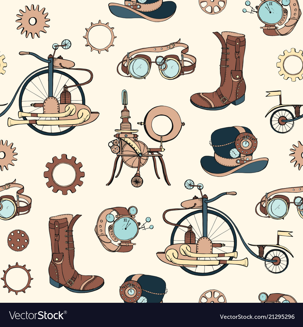 Seamless pattern with steampunk attributes and