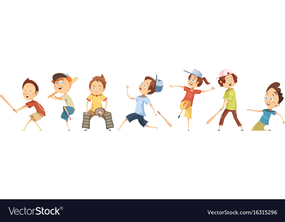 Set of children characters playing baseball