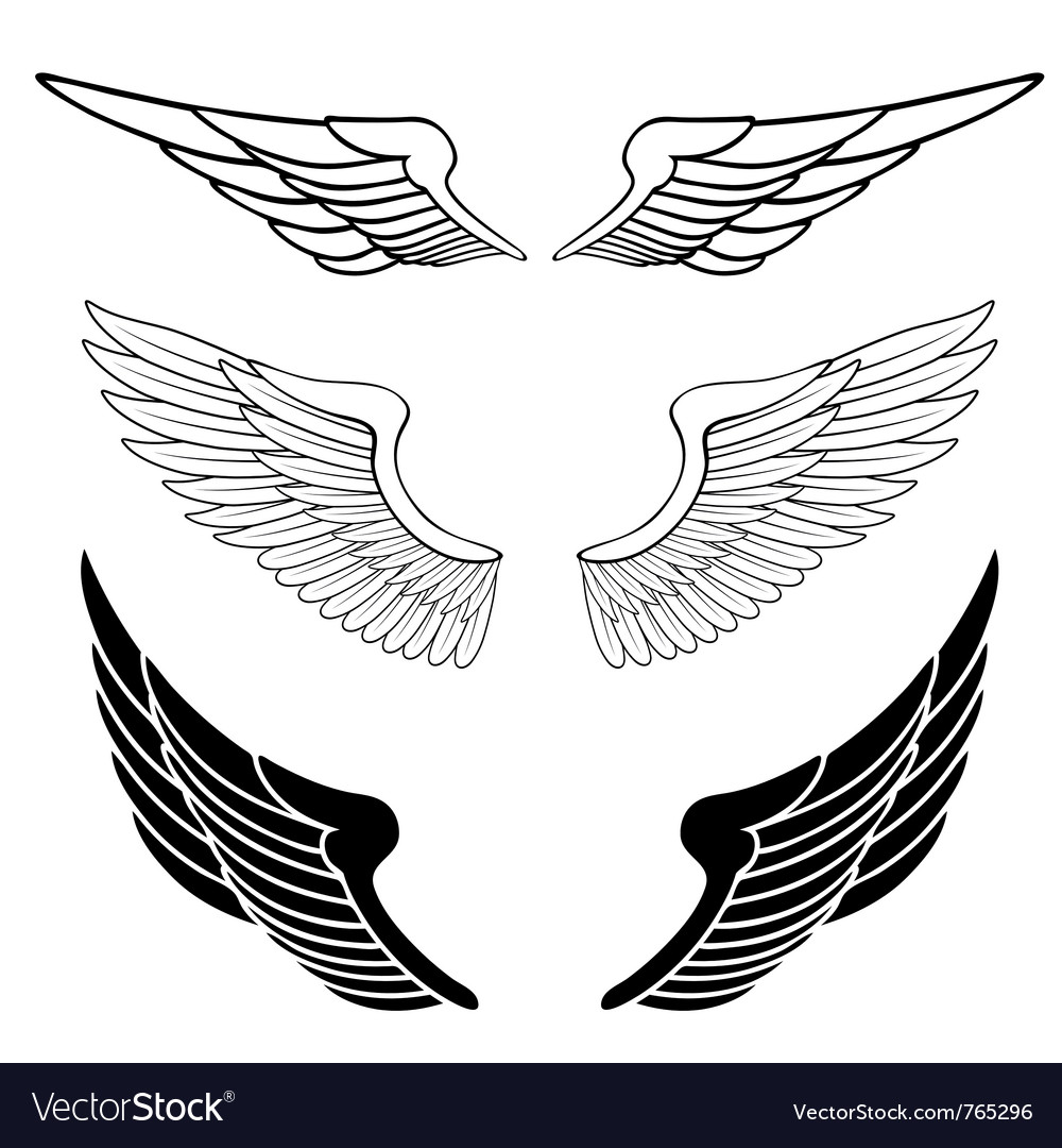 set of wings royalty free vector image vectorstock rh vectorstock com free vector eagle wings free vector wings clipart