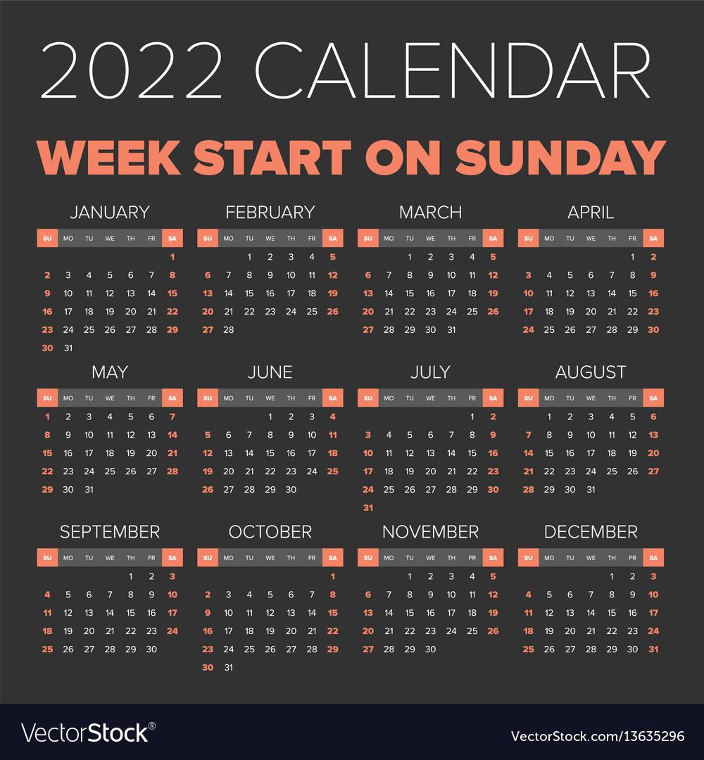 Mizzou Calendar 2022 23.Simple 2022 Year Calendar Royalty Free Vector Image