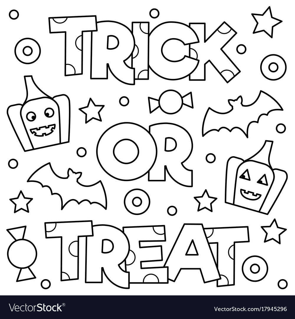 Trick or treat coloring page Royalty Free Vector Image