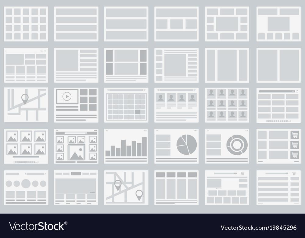 Website flowcharts layouts of tabs infographics