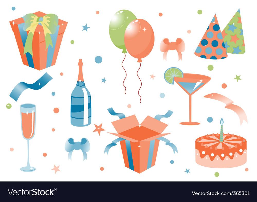 Cartoon birthday icons