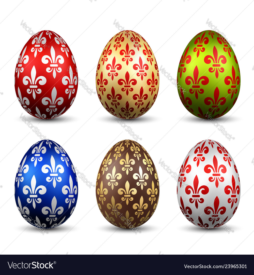 Easter egg 3d icon color eggs set isolated white