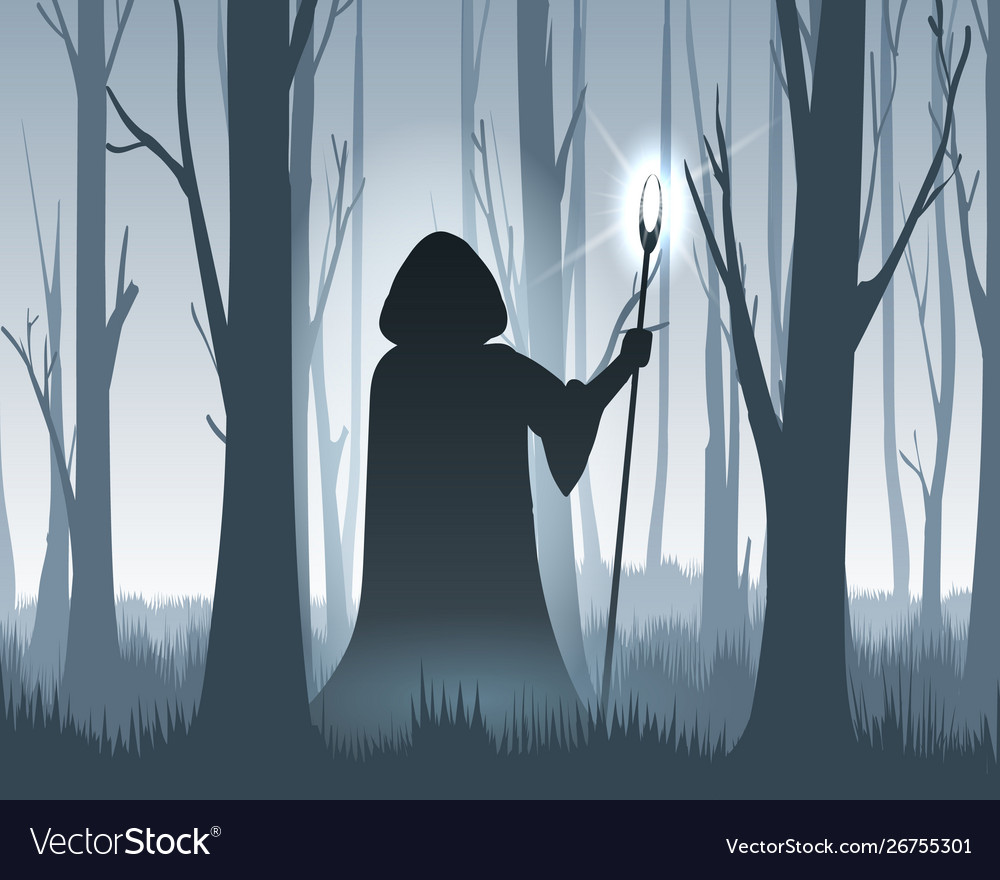 Forest wizard silhouette