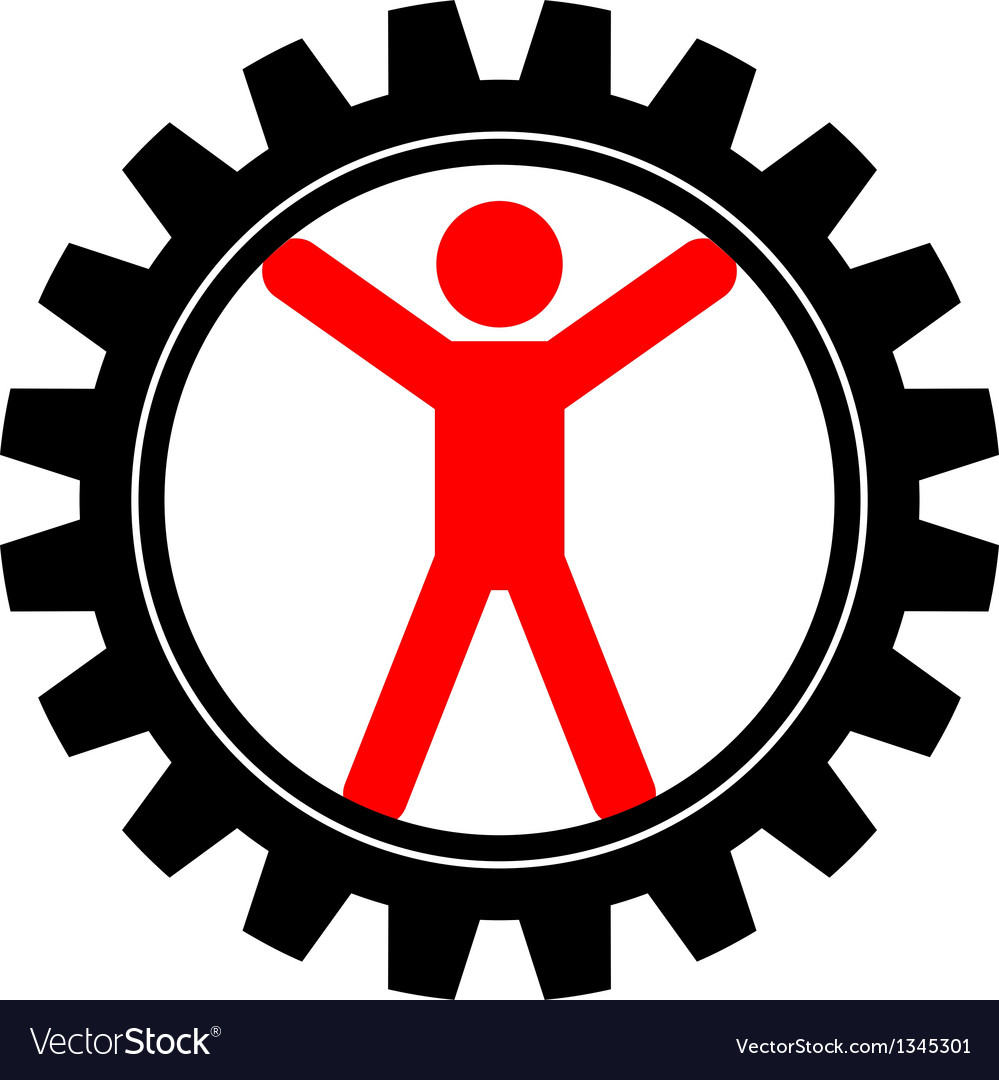 Icon of man in cog-wheel