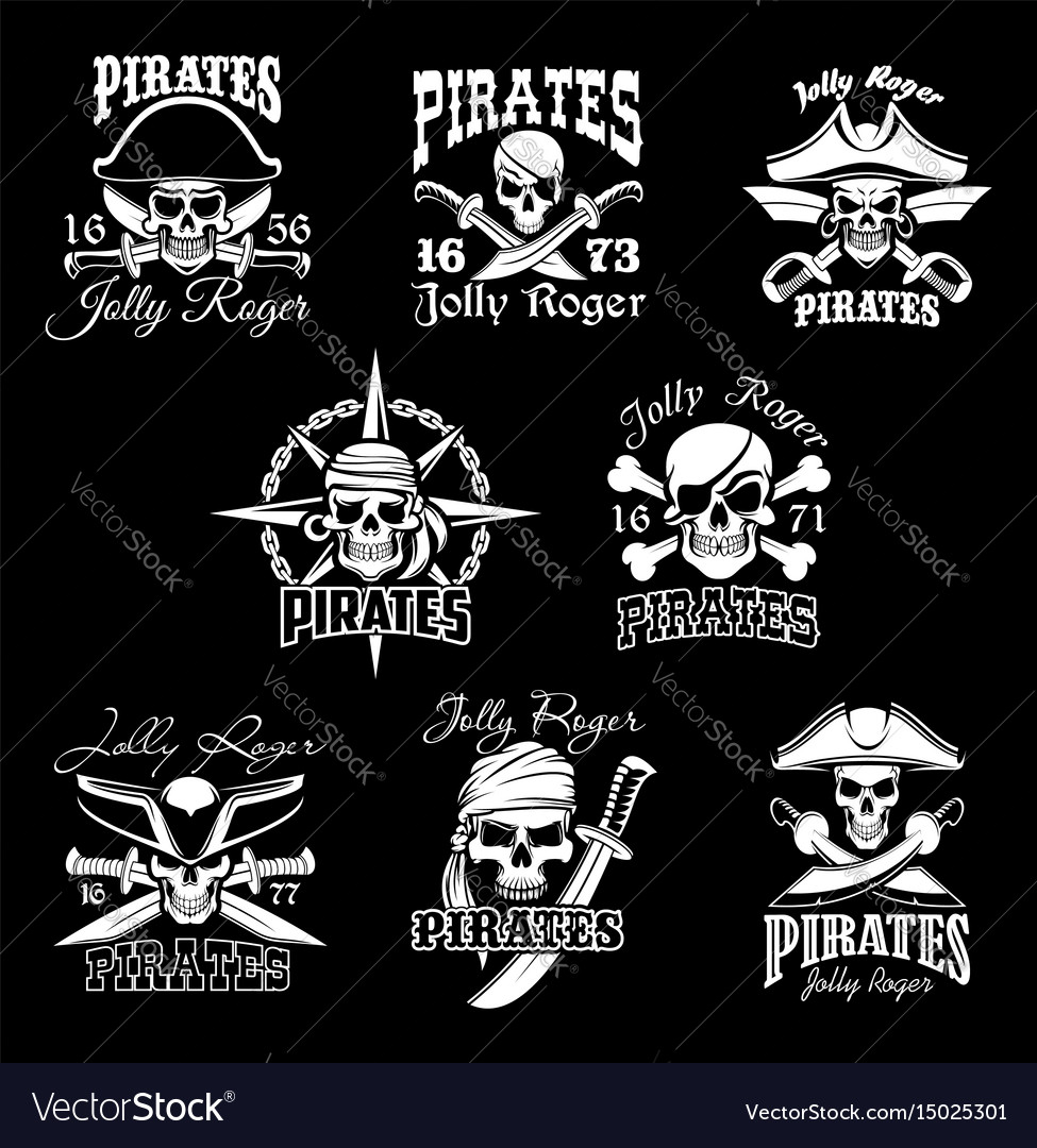Pirate skull with crossbone jolly roger icon set