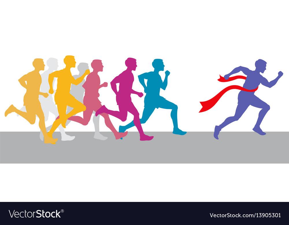 Racing people and winning runner marathon