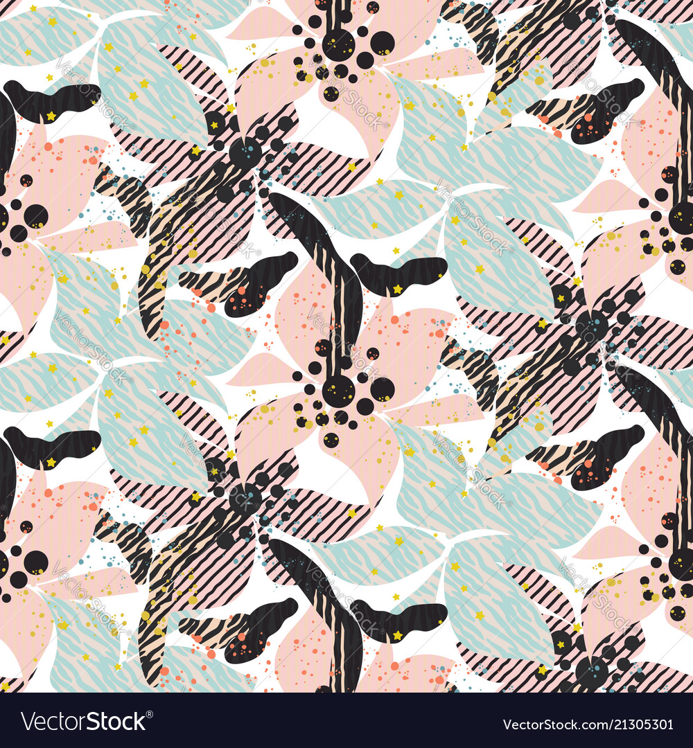 Seamless pattern with bold pastel flowers with