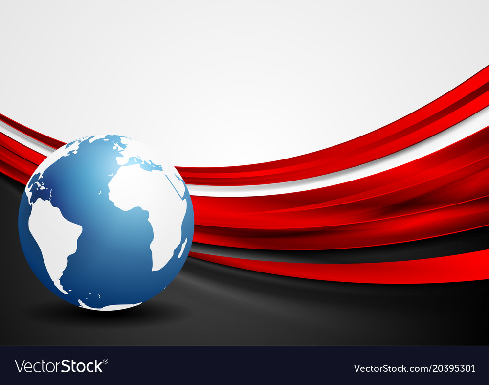 Tech background with globe and red shiny waves vector image