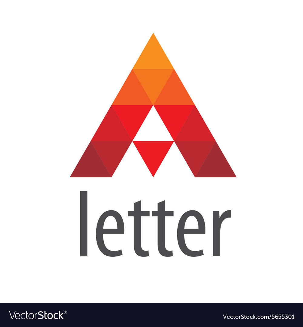 Triangular logo red letter A vector image