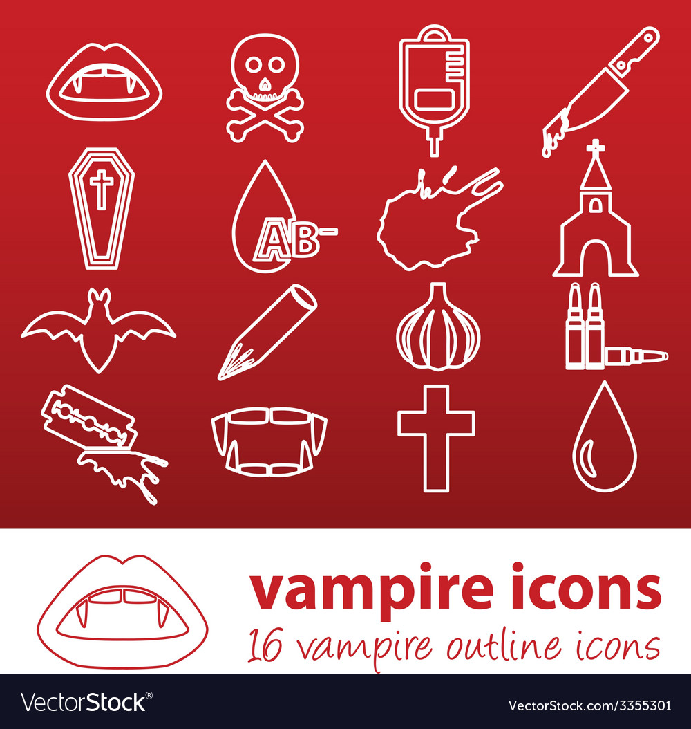Vampire outline icons vector image