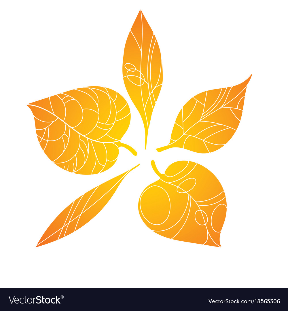 Autumn leaves stylized orange leaves lying in a