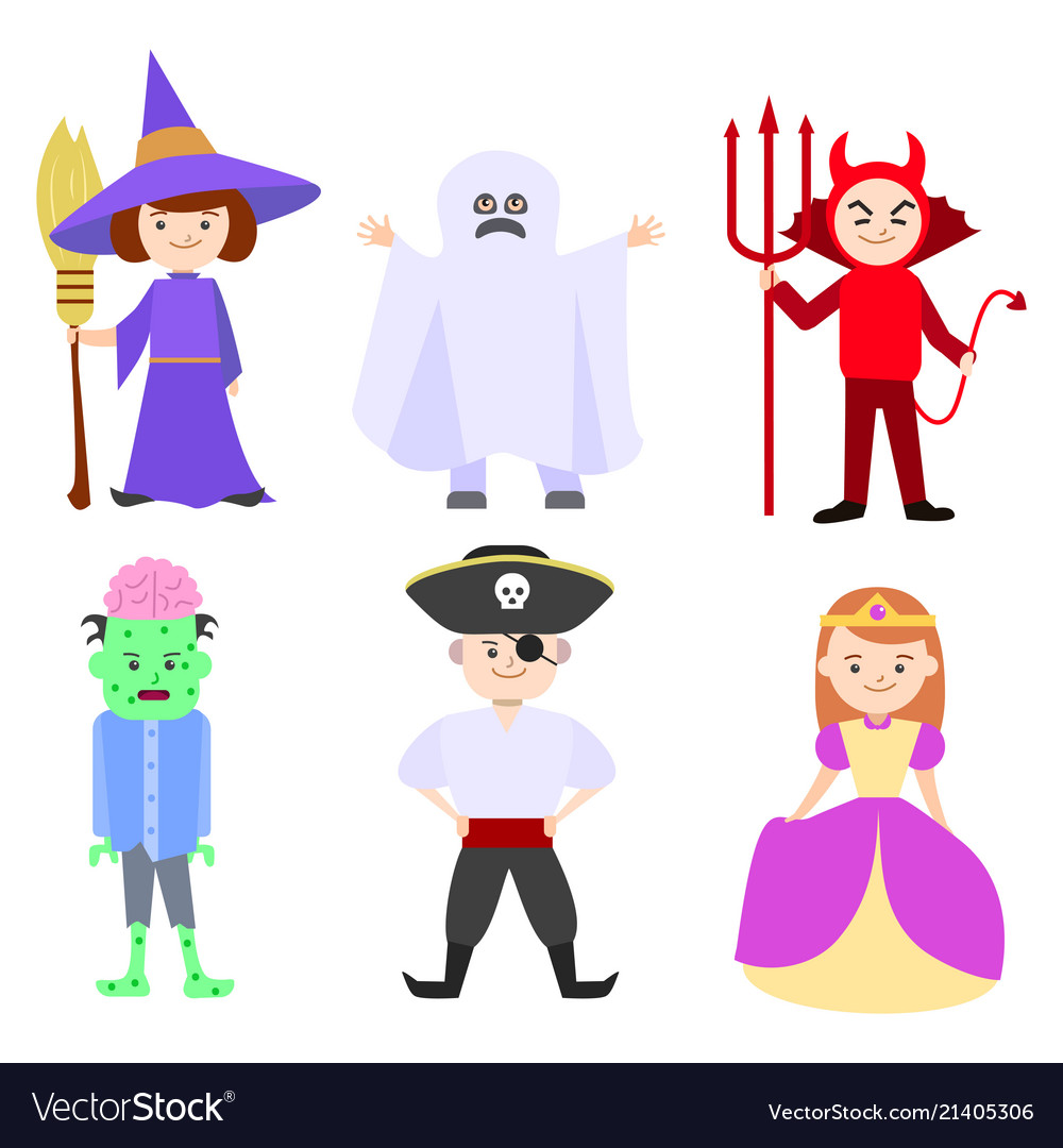 Cartoon halloween kids costumes set