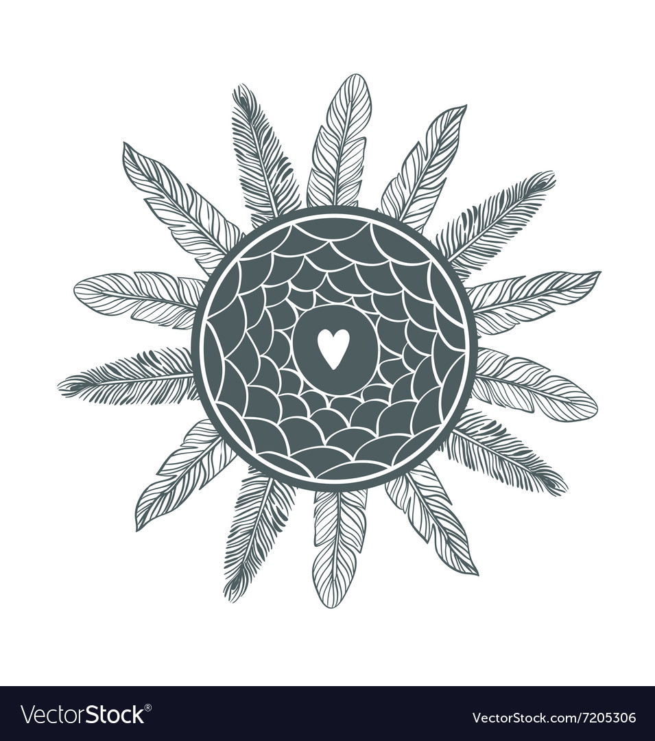 Dream catcher with feathers Beautiful hand-drawn vector image