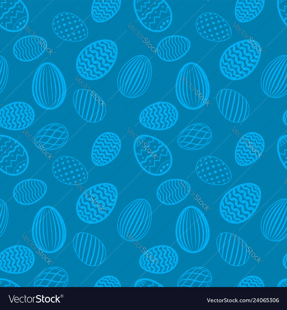 Easter egg seamless pattern blue color holiday