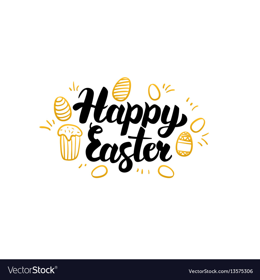 Happy easter gold greeting card vector image