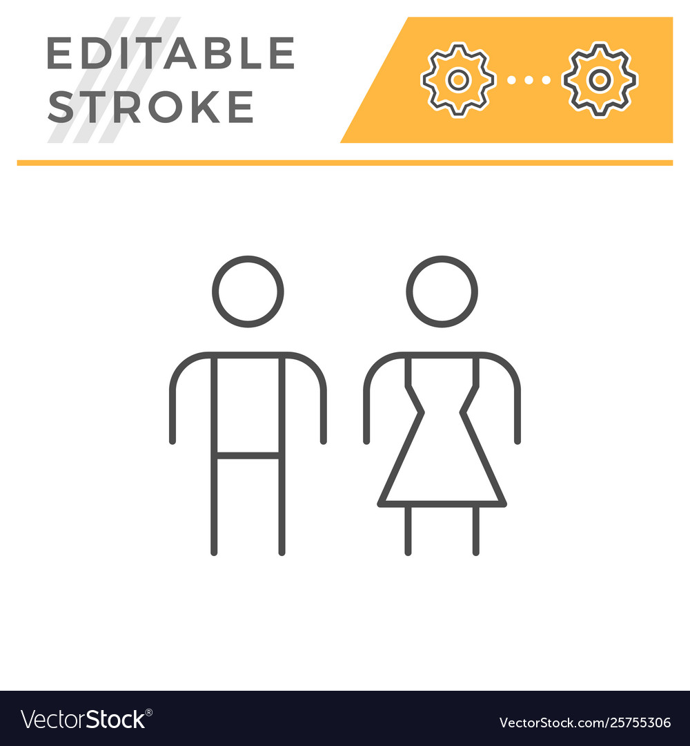 Male and female editable stroke line icon