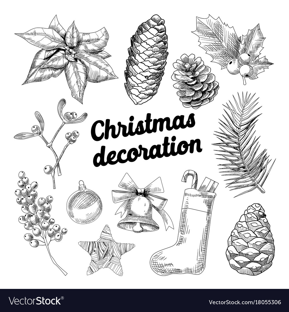 Merry christmas hand drawn decoration doodle