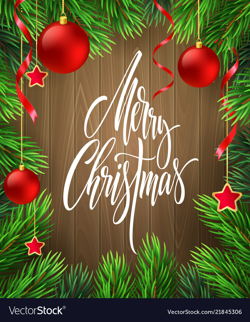 Merry christmas lettering in fir branches frame
