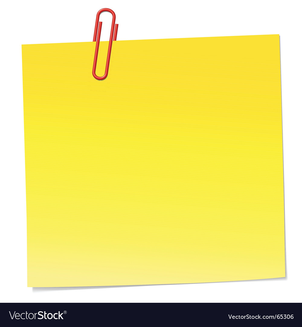 note with paper clip royalty free vector image