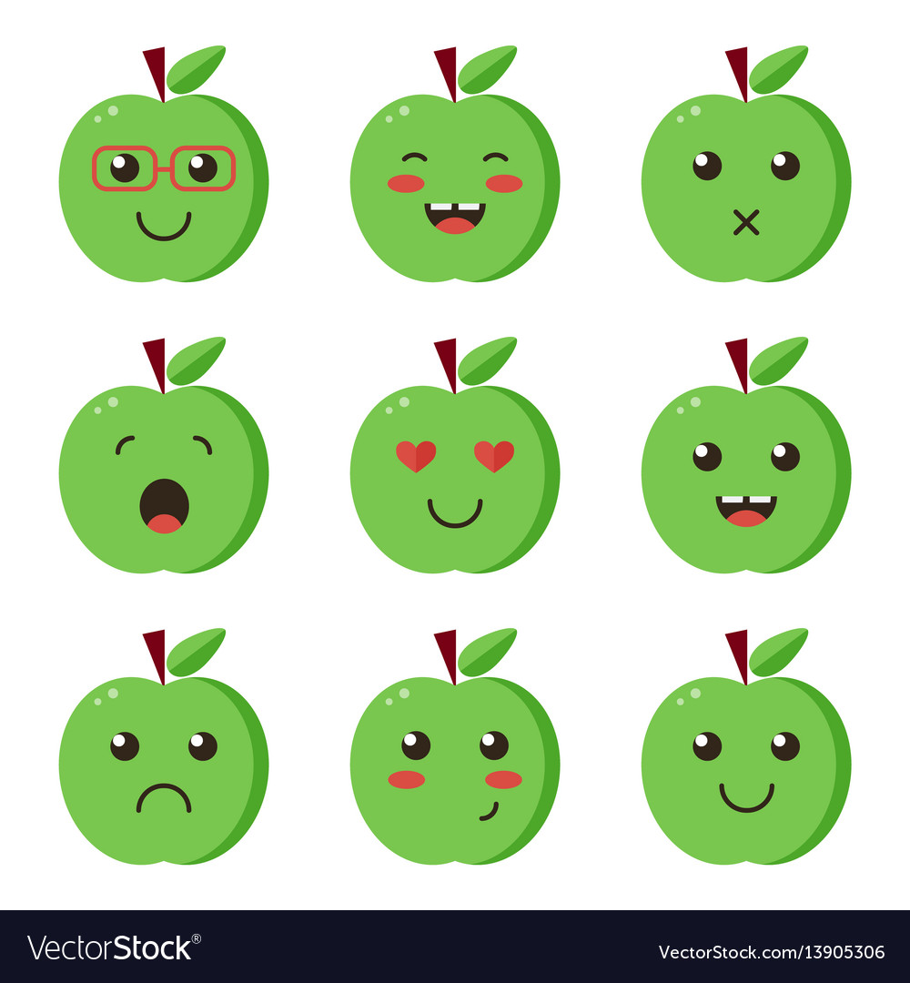 Set collection of flat design emoji green apples vector image