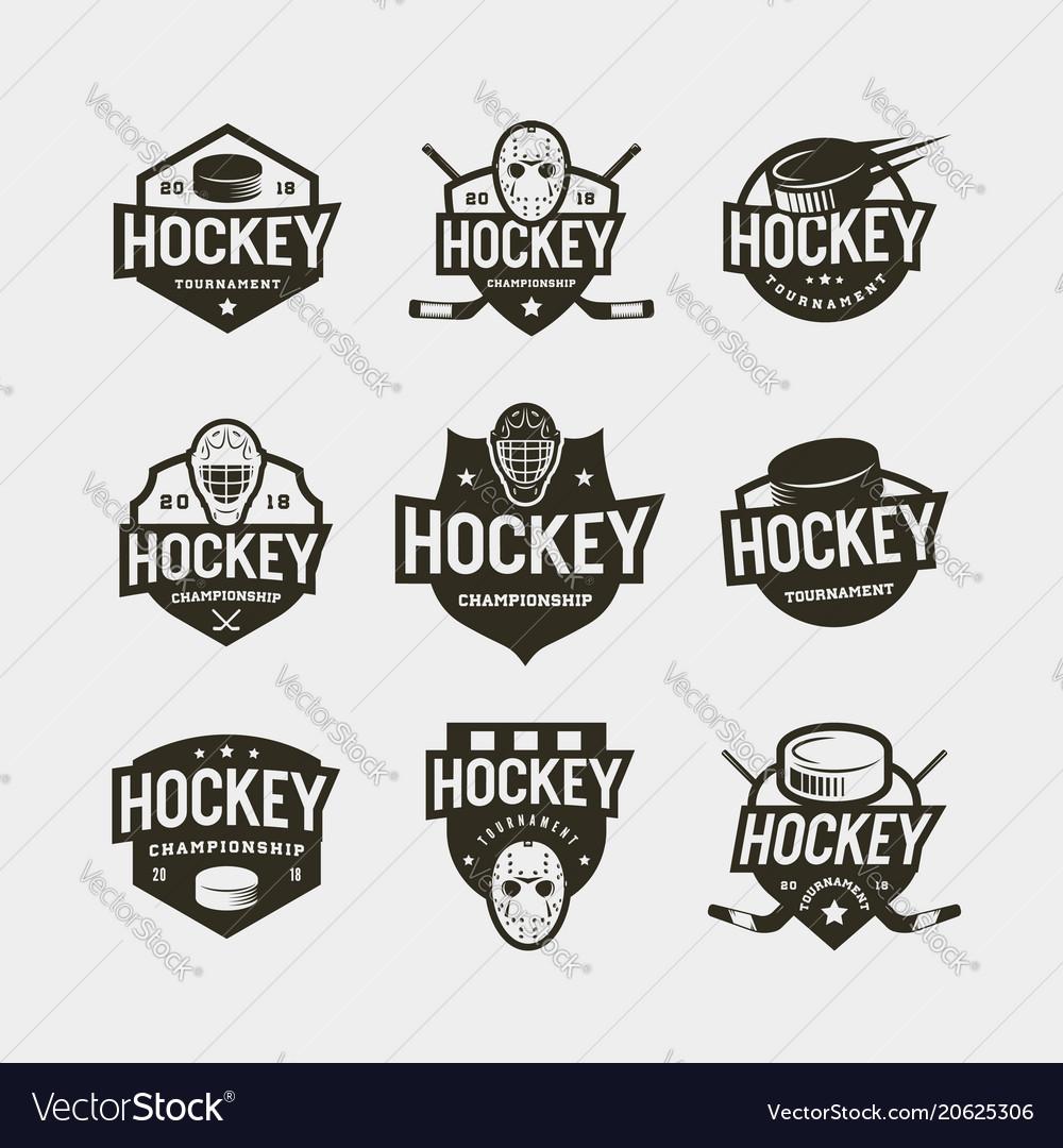 Set of hockey logos sport emblems