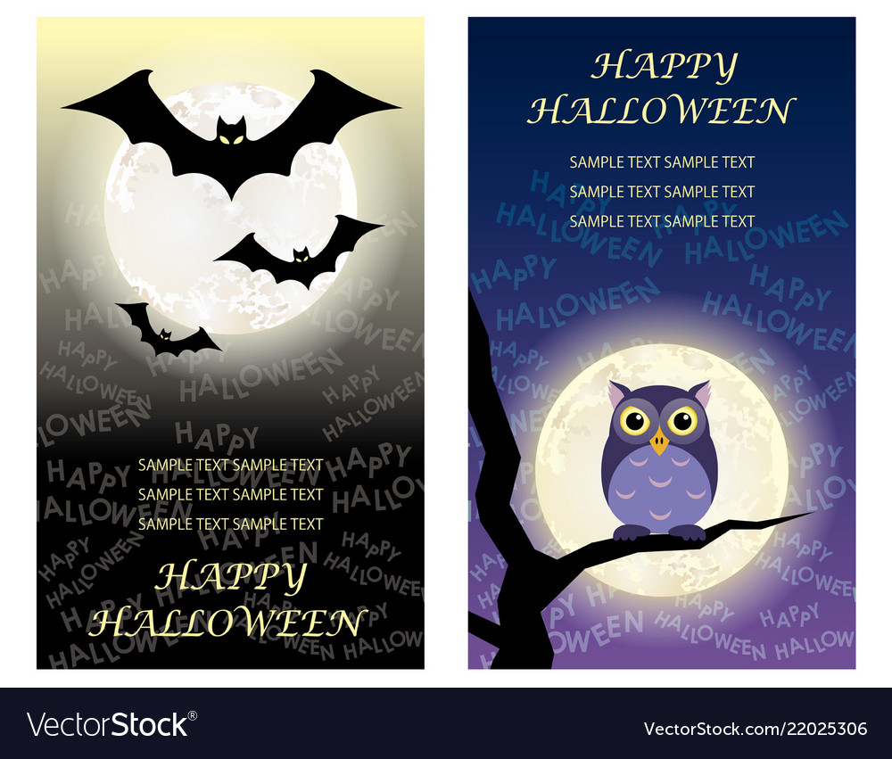 Set of two happy halloween greeting card templates