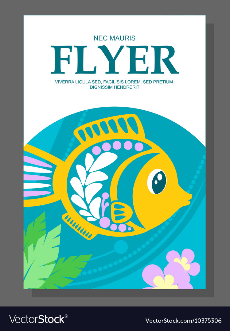 Summer flyer with a decorative fish on the ocean