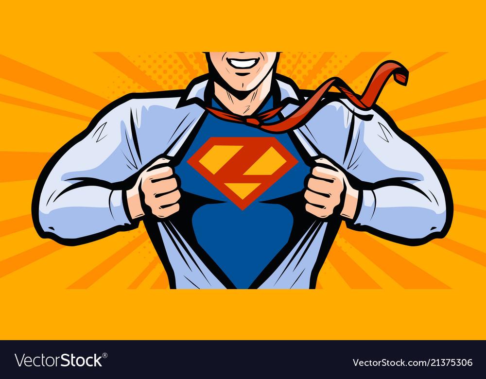 Superhero in style comic pop