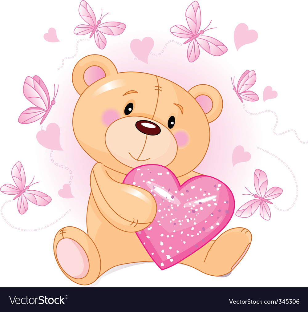 cute teddy bear sitting with pink love heart. Keywords: