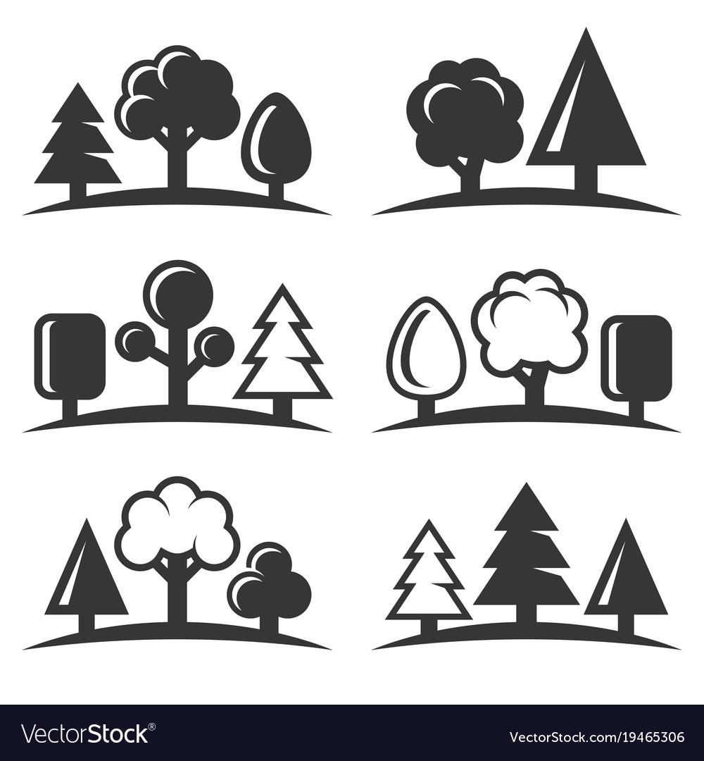 Tree icons set on white background